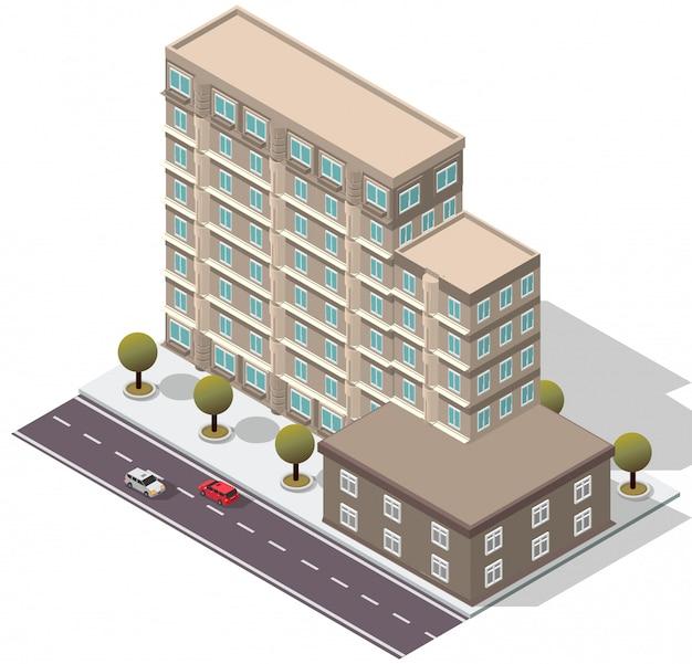 Isometrische hotel appartementengebouw