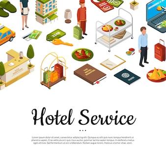Isometrische hotel pictogrammen achtergrond met plaats voor tekst
