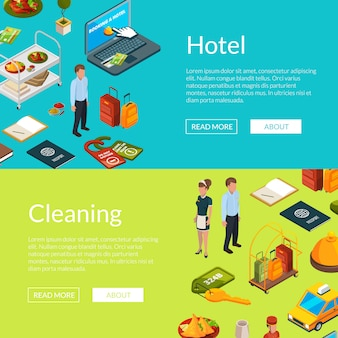 Isometrische hotel pictogrammen web banner sjablonen