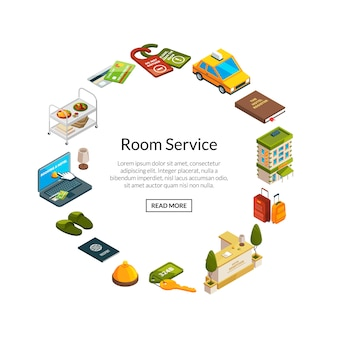 Isometrische hotel pictogrammen