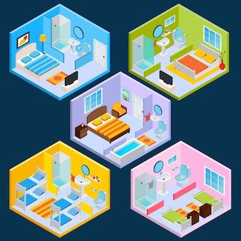 Isometrische hotelinterieur