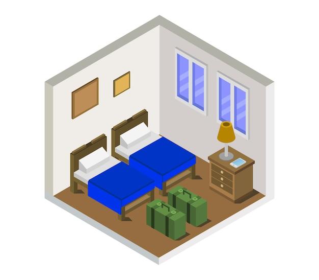 Isometrische hotelkamer