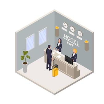 Isometrische hotelreceptie