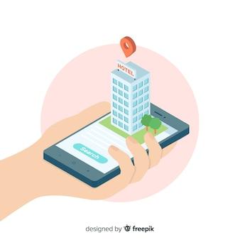 Isometrische hotelreserveringsachtergrond
