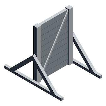 Isometrische houten muur