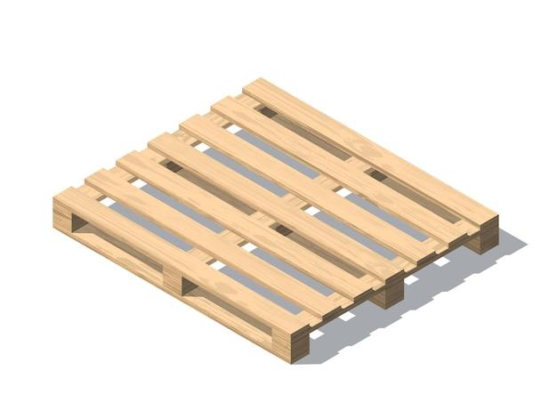 Isometrische houten pallet met schaduw