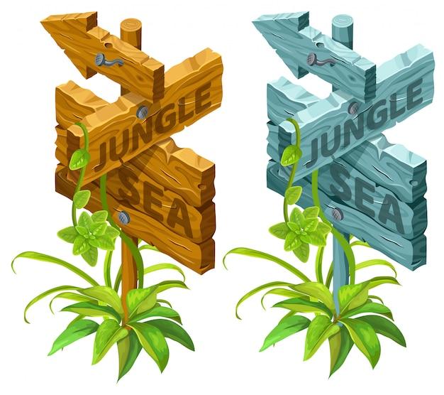 Isometrische houten planken met bladeren
