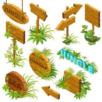 Isometrische houten uithangborden met bladeren.