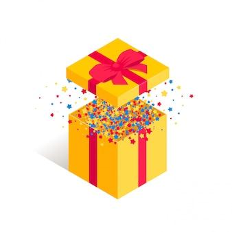 Isometrische huidige geopende geschenkdoos. verrassingsdoos met rode boog en confetti geïsoleerd op een witte achtergrond. nieuwjaar, jubileum, verjaardagsverrukking 3d symbool. illustratie voor webdesign, app, advertentie