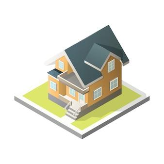 Isometrische huis. 3d cottage.