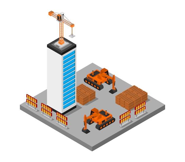 Isometrische huis in aanbouw