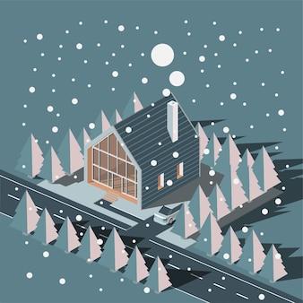Isometrische huis in wintersneeuw