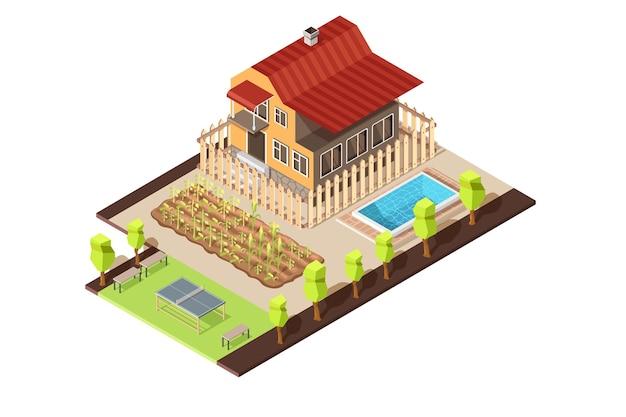 Isometrische huis interieur met tuin