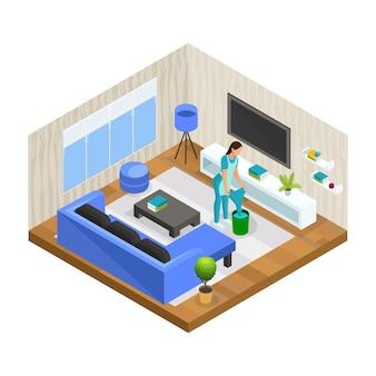 Isometrische huis schoonmaken concept