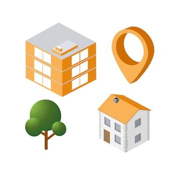 Isometrische huis stedelijke