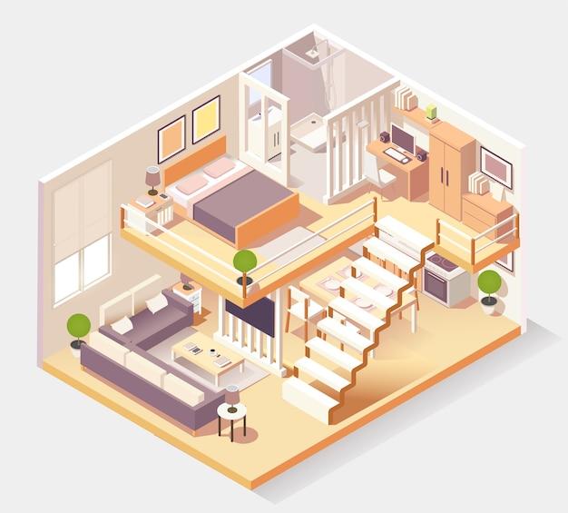 Isometrische huis verschillende kamers samenstelling