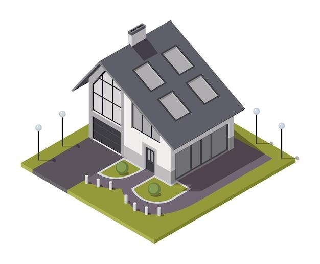 Isometrische huisje. bouwen van particulier onroerend goed