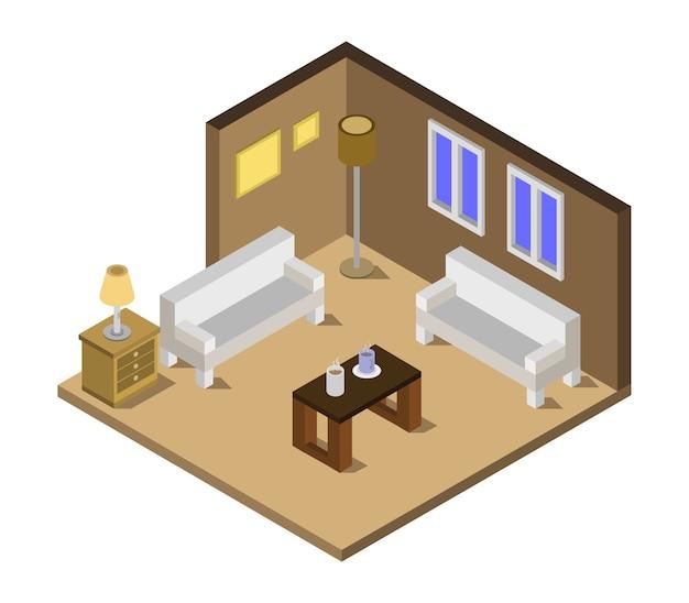 Isometrische huiskamer