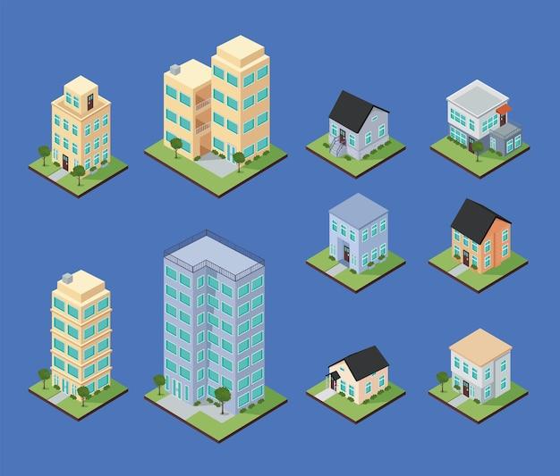 Isometrische huizen en appartementen