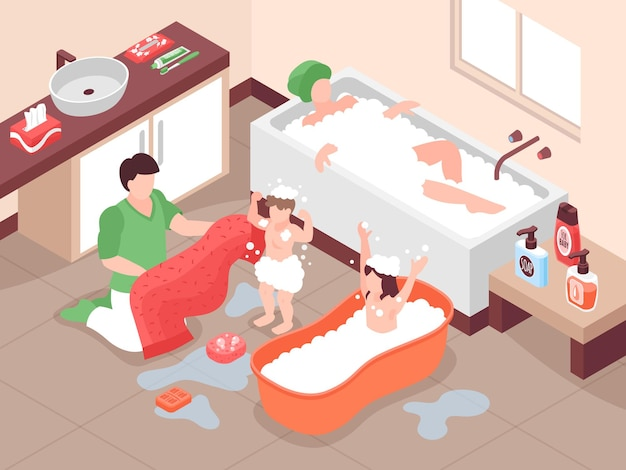 Isometrische hygiënesamenstelling met badkamerlandschap en personages van volwassenen en kinderen die in bad gaan met schuim