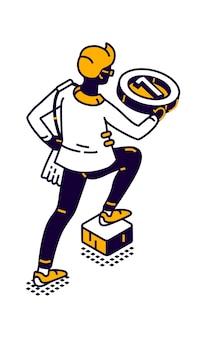 Isometrische icoon van man met ronde medaille voor de eerste plaats