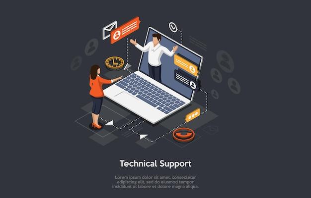 Isometrische illustratie cartoon 3d-ontwerp met elementen en mensen technische ondersteuning voor websitetoepassing