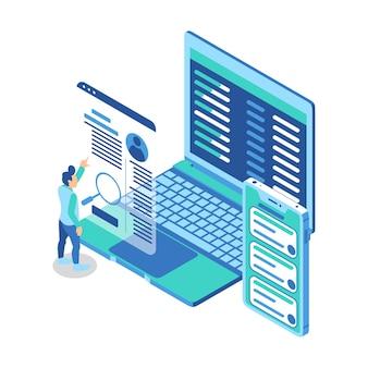 Isometrische illustratie die een man vertegenwoordigt die naar het scherm van het persoonlijke profiel van de website wijst voor gadgets
