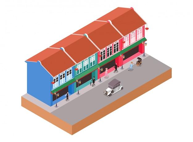 Isometrische illustratie die oude koloniale gebouwen met mensen en klassieke auto de straat oversteken
