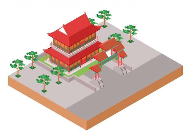 Isometrische illustratie die oude traditionele chinese rode tempel met poort en park aan zijn zijden