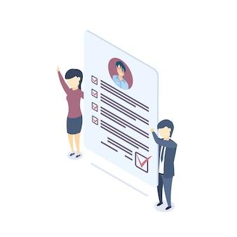 Isometrische illustratie document met persoonlijke gegevens.
