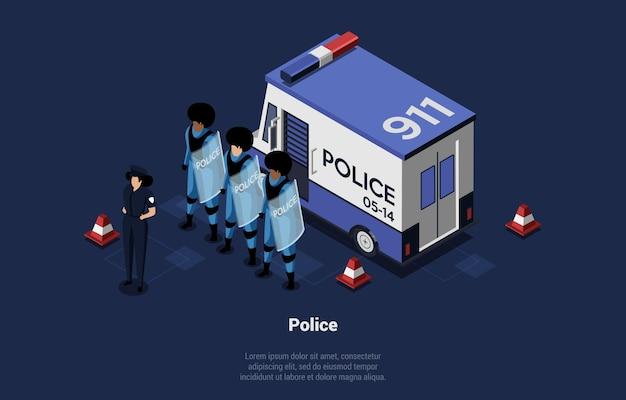 Isometrische illustratie, groep van drie politieagenten die speciale uniforme schilden en politieauto in de buurt dragen