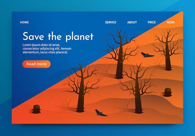 Isometrische illustratie is geschreven save the planet