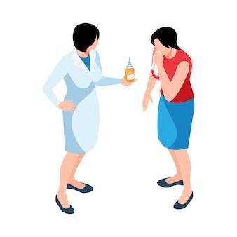 Isometrische illustratie met apotheker die medicatie geeft aan zieke vrouw