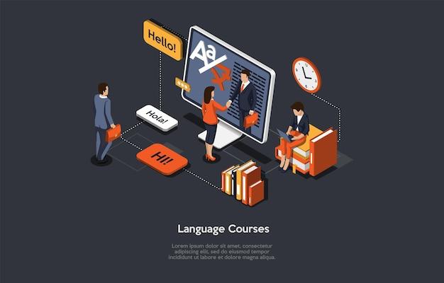 Isometrische illustratie met schrijven en tekens. vectorsamenstelling in cartoon 3d-stijl op taalcursussen, online onderwijssysteem, afstandsstudie en examen geslaagd concept. mensen leren, computer.