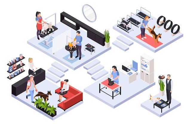 Isometrische illustratie met verschillende services