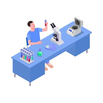 Isometrische illustratie met wetenschappelijk laboratoriummedewerker aan bureau 3d