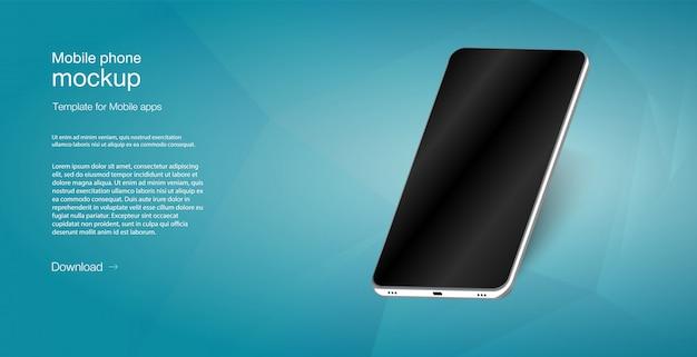 Isometrische illustratie mobiele telefoon. smartphone frame minder leeg scherm.