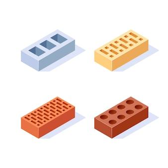 Isometrische illustratie van bakstenen in vlakke stijl.