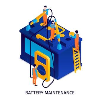 Isometrische illustratie van batterijonderhoud