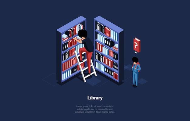 Isometrische illustratie van bibliotheek met boekenkasten en twee karakters.