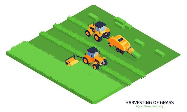 Isometrische illustratie van de landbouwindustrie met machines voor het oogsten van gras op groen veld
