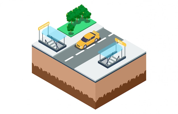 Isometrische illustratie van de manier waarop de metro-