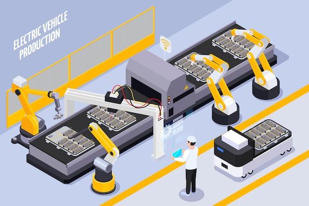 Isometrische illustratie van de productielijn van elektrische voertuigen met geautomatiseerd op afstand bestuurbaar robotarmassemblagesysteem