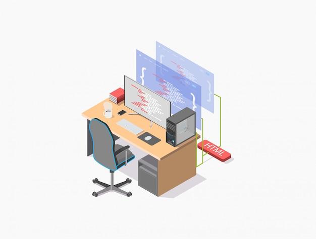 Isometrische illustratie van de werkplek van een programmeur, een computerbureau waarop een monitor staat en een computer waarop de broncode van een webpagina staat