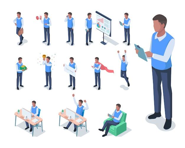 Isometrische illustratie van donkere gevilde mannelijke zakenman met verschillende poses
