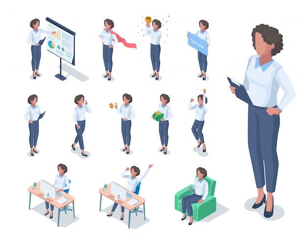 Isometrische illustratie van donkere gevilde zakenvrouw met verschillende poses