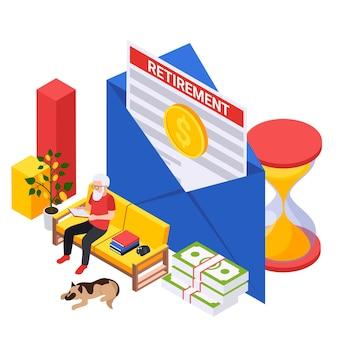 Isometrische illustratie van het pensioenvoorbereidingsplan