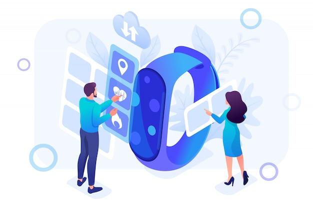 Isometrische illustratie van jongeren die werken met horloge-apps