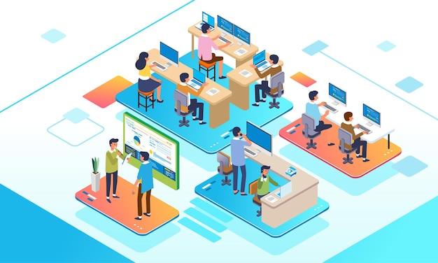 Isometrische illustratie van kantooractiviteitsmedewerker die op laptop en computer werkt, omgaan met klanten