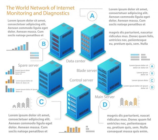 Isometrische illustratie van netwerk